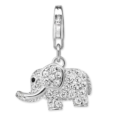 Rafaela Donata Charm Collection Damen-Charm Elefant 925 Sterling Silber Zirkonia weiß  60600275