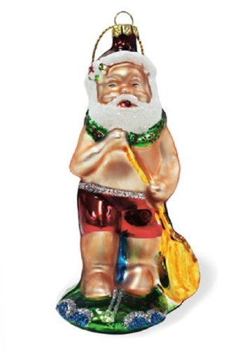 Island Heritage Stand Up Paddleboard Santa Collectible Glass Ornament