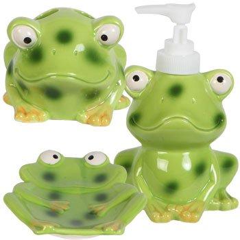 Kids jungle friends stoneware bathroom accessories frog for Frog bathroom ideas