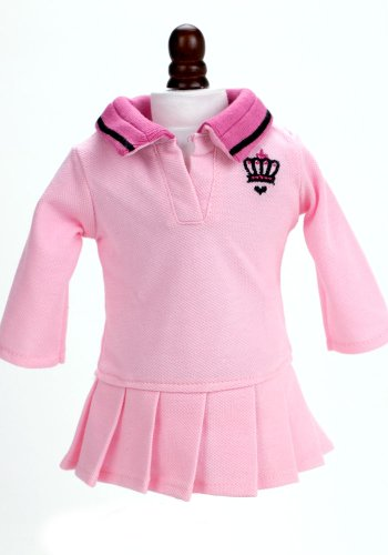 18 Inch Dolls Clothes Outfit Fit for American Girl Dolls, Pink 18 Inch Doll Polo Dress - 1