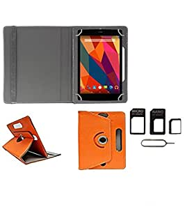 Gadget Decor (TM) PU Leather Rotating 360° Flip Case Cover With Stand For HCL ME U2 Tablet + Free Sim Adapter Kit - Orange