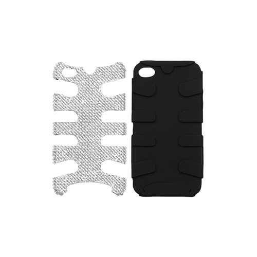 Apple Iphone 4 (At&T/Verizon), Iphone 4S Hybrid Protector Cover Case - Silver Diamond/Black Fishbone
