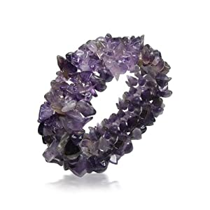 Bling Jewelry Chunky Purple Amethyst Gemstone Chips Stretch Bracelet