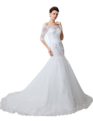 473a200932b Sarahbridal Women s Mermaid Chapel Train Wedding Dress Bridal Gown US16  White