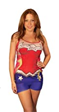 DC Comics Wonder Woman Anatomical Lounge Wear Pajama 2pc Short Set