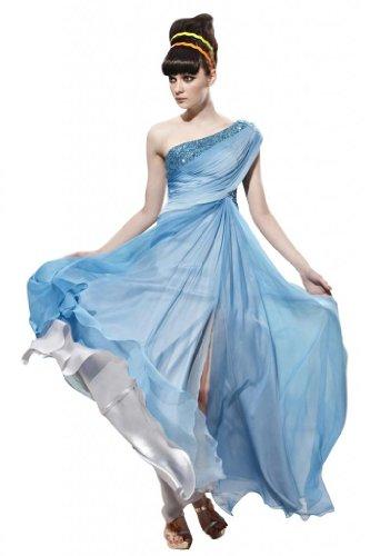 Kingmalls Womens Ombre Blue Tencel One Shoulder Beads Dress (X-Large)