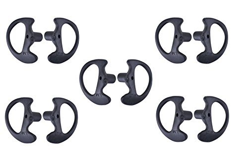 KEYBLU Universal Replacement Soft Silicone Open Ear Insert Earmould for Two Way Radio Coil Tube Audio Kits UV-5R UV-B6 BF-888S UV-B5 (Black, 5 Pair Large) (Color: black, Tamaño: 5 pair large)