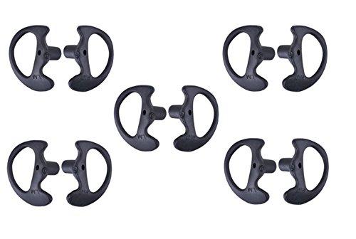 KEYBLU Universal Replacement Soft Silicone Open Ear Insert Earmould for Two Way Radio Coil Tube Audio Kits UV-5R UV-B6 BF-888S UV-B5 (Black, 5 Pair Medium) (Color: black, Tamaño: 5 pair medium)