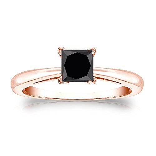 14K Rose Gold Princess-Cut Black Diamond Solitaire Ring (3/4 Cttw, Black Color)