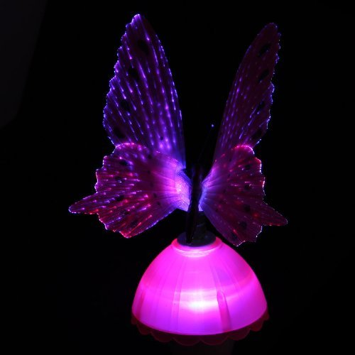 ZeeCoo 1xPurple Fiber Optic Butterfly LED Color Changing Night Light Lamp