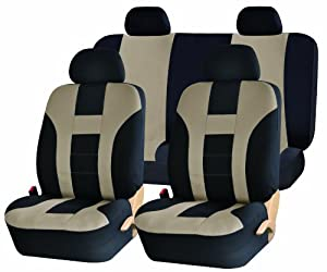 Universal Full Set of Car Seat Covers - Double Stitched Racing Style - Black and Beige Uaa003 by UNIQUE AUTOMOTIVE ACCESSORIES