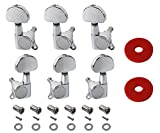 YMC TP20 Series 6 Pieces Guitar Parts 3 Left 3 Right Machine Heads Knobs Guitar String Tuning Pegs Machine Head Tuners for Electric or Acoustic Guitar With 2pcs Strap Locks,Chrome
