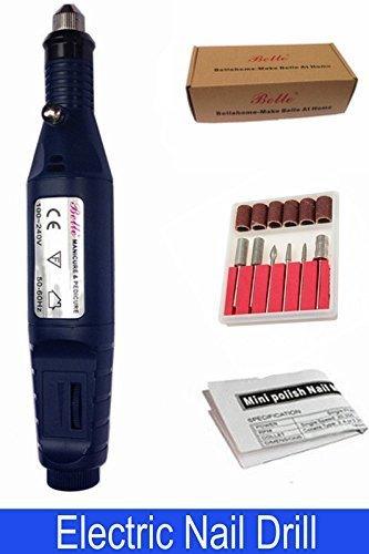 Belle Pen Shape Electrique Nail Drill Ponceuse à Ongles Manucure Pédicure Fichier Machine + 6 Embouts Ponçage pour Gels, Acrylique et naturel Ongles
