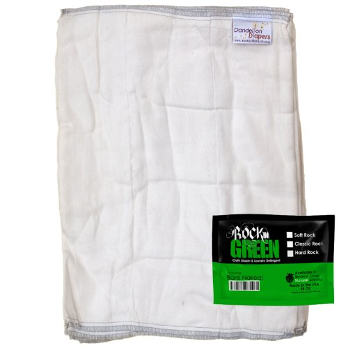 Dandelion Diapers Organic Cotton Blend Prefolds 3 Pack With Bonus Rockin Green Detergent Sample - Size 2 front-808422