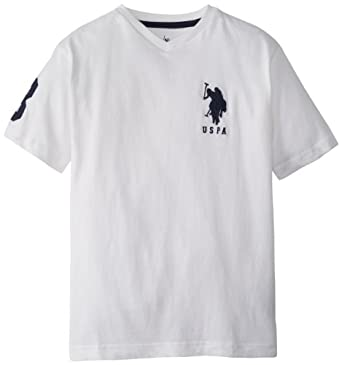 U.S. Polo Assn. Big Boys' Short Sleeve Solid V-Neck T-Shirt with Large Pony, White/Navy, 8