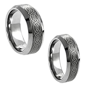 Amazon com wedding band ring set for him amp her 8mm 6mm tungsten