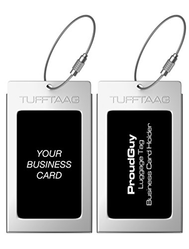 Luggage Tags Business Card Holder TUFFTAAG Travel ID Bag Tag in 10 Color Options