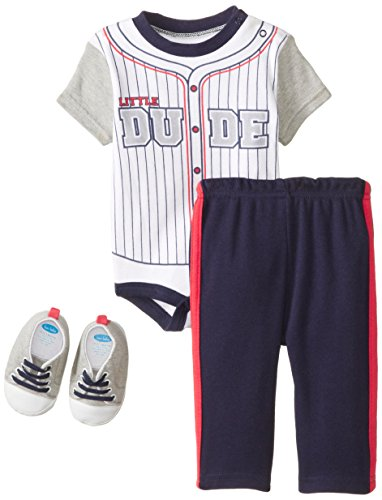 BON BEBE Baby-Boys Newborn Little Baseball Dude 4 Piece Pant Set with Sneakers