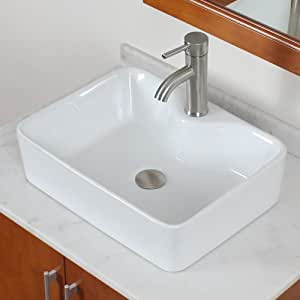 ELITE Bathroom Rectangle White Porcelain Ceramic Vessel