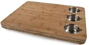 Core Bamboo Pro Chef Butchers Block with Prep Bowls, Natural