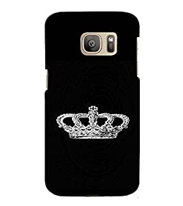 PrintVisa King's Crown Glittery 3D Hard Polycarbonate Designer Back Case Cover for Samsung Galaxy S7