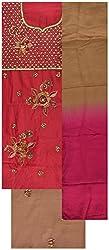 Gunjan Women's Cotton Silk Unstitched Salwar Suit (Maroon & Brown)