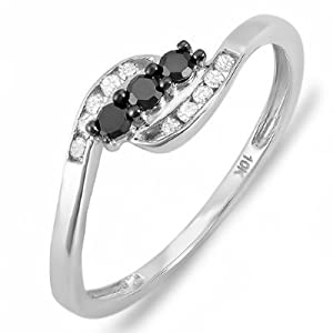 0.25 Carat (ctw) 10K White Gold Round Black & White Diamond Ladies Anniversary Promise Wedding Ring 1/4 CT (Size 5)