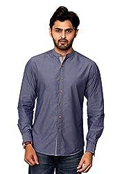 Rafters navy blue full sleeves men's regular fit casual shirt