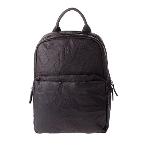 Zaino uomo vintage in pelle stropicciata porta PC notebook a chiusura zip DUDU Marrone scuro