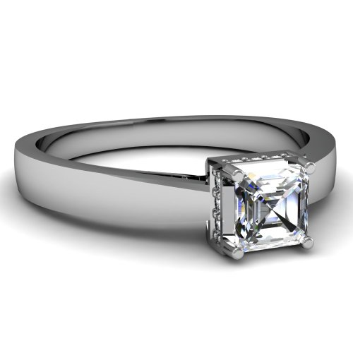 0.55 Ct Cathedral Asscher Cut Diamond Fancy Crown Engagement Ring SI1-H GIA 14K White Gold image