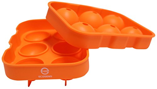 ECOSENS Silicone Ice Sphere Maker for Whiskey - 6 x 4.5cm Ice Ball Tray Orange (Ice Ball Maker Macallan compare prices)