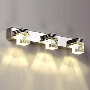 Brushed Chrome Indoor Wall Lights : Amazon.com - 9W LED Modern Cube Crystal Polished Chrome Mirror front Wall Light Indoor Bathroom ...