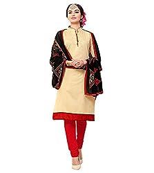 Krishna Present All New Design Of Biege Color Cotton Dress Material With Dupatta..