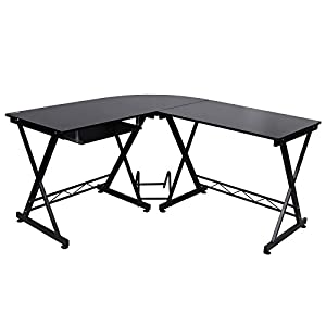 Songmics 150 x 138 x 75 cm L-Shaped Large Corner Computer Desk Workstation with Sliding Keyboard Mounted on Left or Right, Black, LCD402B