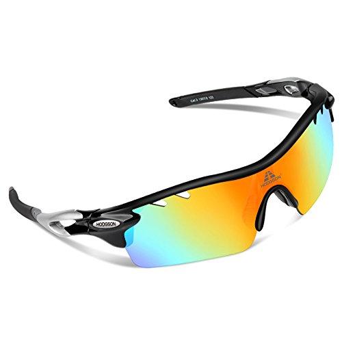 HODGSON 偏光レンズ スポーツサングラス 専用交換レンズ5枚付き ユニセックス男女兼用 自転車/ロードバイク/サイクリング野球/ランニングサングラスTR90 丈夫 破損防止加工 (black/silver)