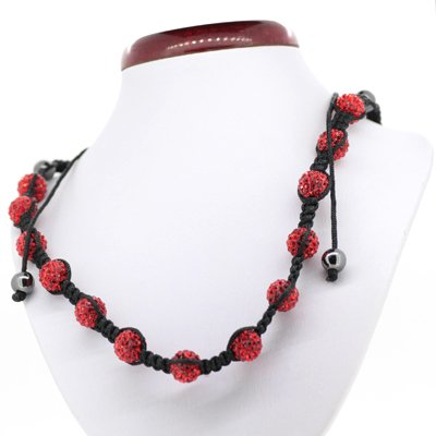 D&J Jewellery Disco Balls Crystal Red Beads Women