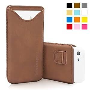 Snugg B00EYY781C - Funda de piel para iPhone 5C (tarjetero, cinta elástica e interior de nobuck), con garantía de por vida, color marrón