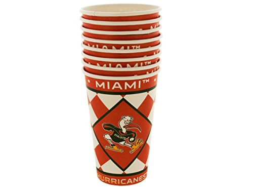 Wholesale Miami Hurricanes Paper Cups Set - Set of 24, [Party Supplies, Party Cups]