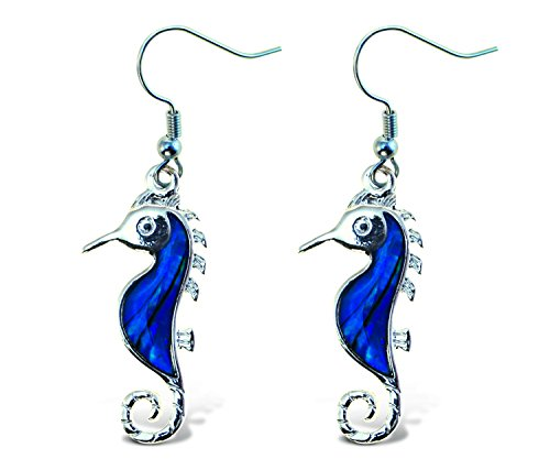 Puzzled Sea Horse Dangle Post Fish Hook Earrings - 1