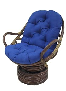 Rattan Coil Base Swivel Rocker Papasan Chair With Twill Cushion MANY COLORS