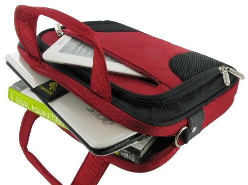 rooCASE Netbook / iPad Carrying Bag for Samsung NB30-JP02 10.1-Inch Netbook Texturized Matte Hyacinthine - Deluxe Series Red / Black