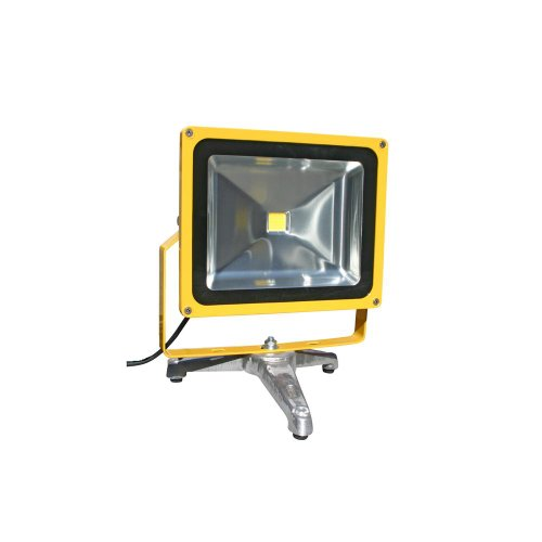 Lind Equipment Le970Led-Fs Super Bright Led Portable Floodlight, 50 Watts, Weatherproof, Industrial, Bulbs Rated For 50,000 Hours, Low Energy Usage, As Bright As A 500-Watt Quartz Halogen, Cast Aluminum Floor Stand