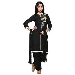 Anksh Embroidery Black Cotton Kurti, Salwar & Dupatta For Women (Size-L)