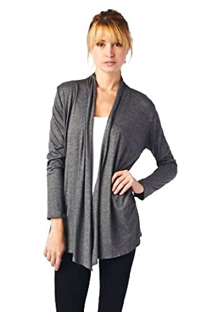 Women'S Rayon Span Super Comfortable Basic Cardigan - Charcoal S