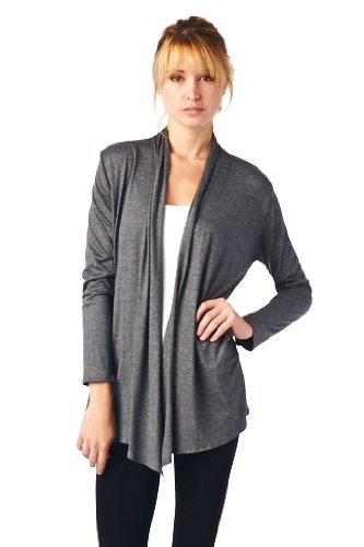 82 Days Women'S Rayon Span Super Comfortable Basic Cardigan - Charcoal S