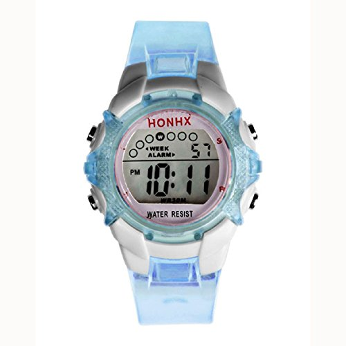 Tonsee(Tm) Lovely Digital Led Quartz Alarm Date Sports Wrist Watch (Blue)