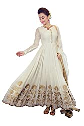 VIHA White Embroidered Georgette Semi Stitched Dress Materials