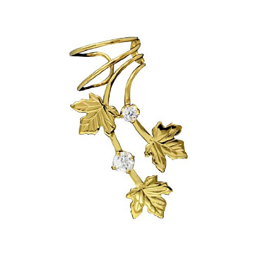 Right Only Gold Vermeil Pierceless Maple Leaves Ear Cuff