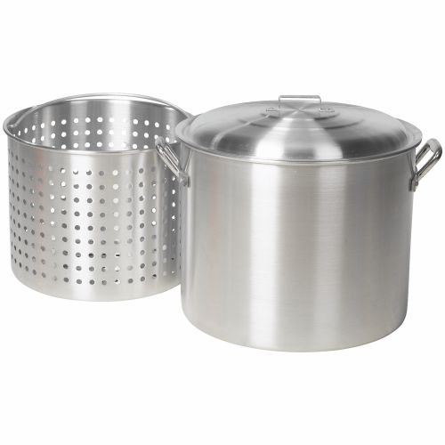 Outdoor Gourmet 80 qt. Heavy Gauge, Aluminum Construction Pot with Strainer- Great for Seafood Boils, Fish Frys, Canning and Stews