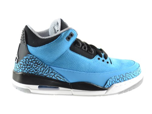 5ea1eef10d12c6 Air Jordan 3 Retro Mens Basketball Shoes Dark Powder Blue White-Black-Wolf  Grey 136064-406